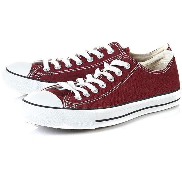 Converse 'ox Canvas' Trainers ($57) ❤ liked on Polyvore featuring men's fashion, men's shoes, men's sneakers, shoes, men, boys, converse, red, mens red sneakers and mens sneakers