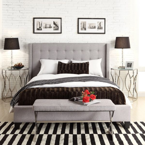 Inspire Q Marion Grey Linen Nailhead Wingback Tufted Upholstered Bed (690 CAD) ❤ liked on Polyvore featuring home, furniture, beds, queen headboard, upholstered queen bed, full bed, gray upholstered headboard and full size upholstered bed