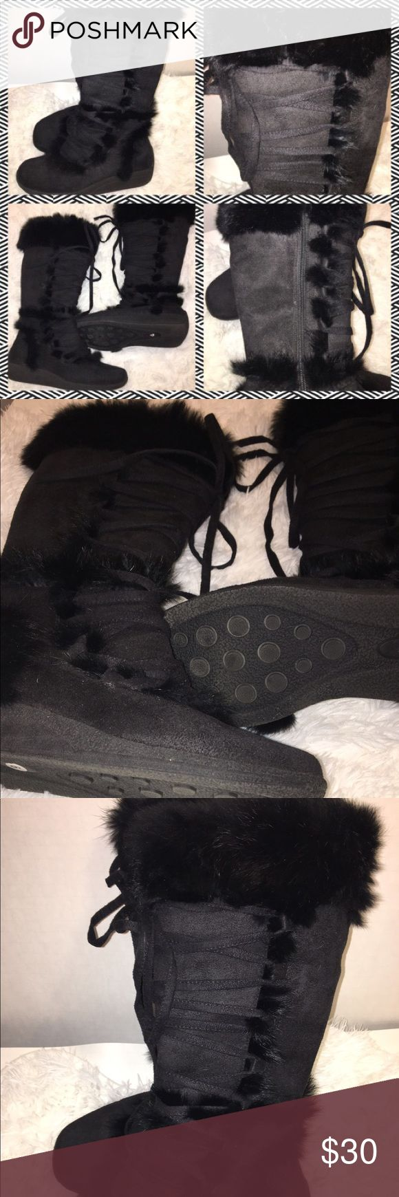 Noel Black velvet & faux fur tie up boots size 6 Gorgeous and warm black lace up boots in size 6 by Noel. Has faux fur and velvet material around outside of boots. Laces go up the front. Please see the other items in my closet. Bundle and save! Come from a smoke-free home. Noel Shoes Lace Up Boots