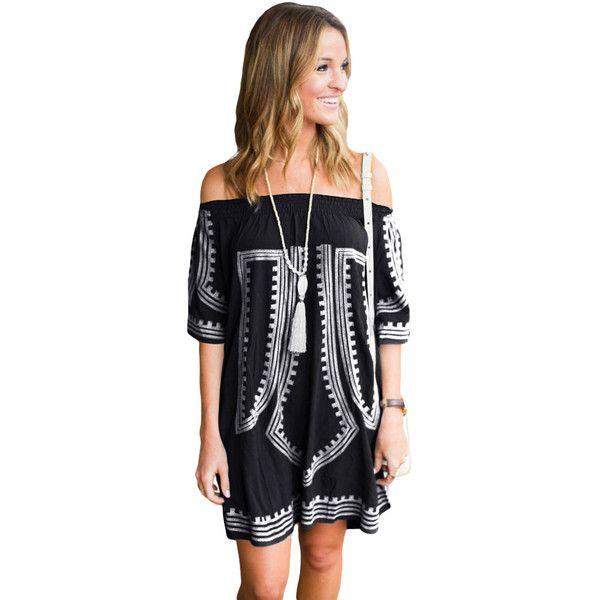 Black Bohemian Vibe Geometric Print Off The Shoulder Beach Dress (34 NZD) ❤ liked on Polyvore featuring dresses, sexy beach dresses, beach kaftan, summer dresses, boho summer dresses and beachy dresses