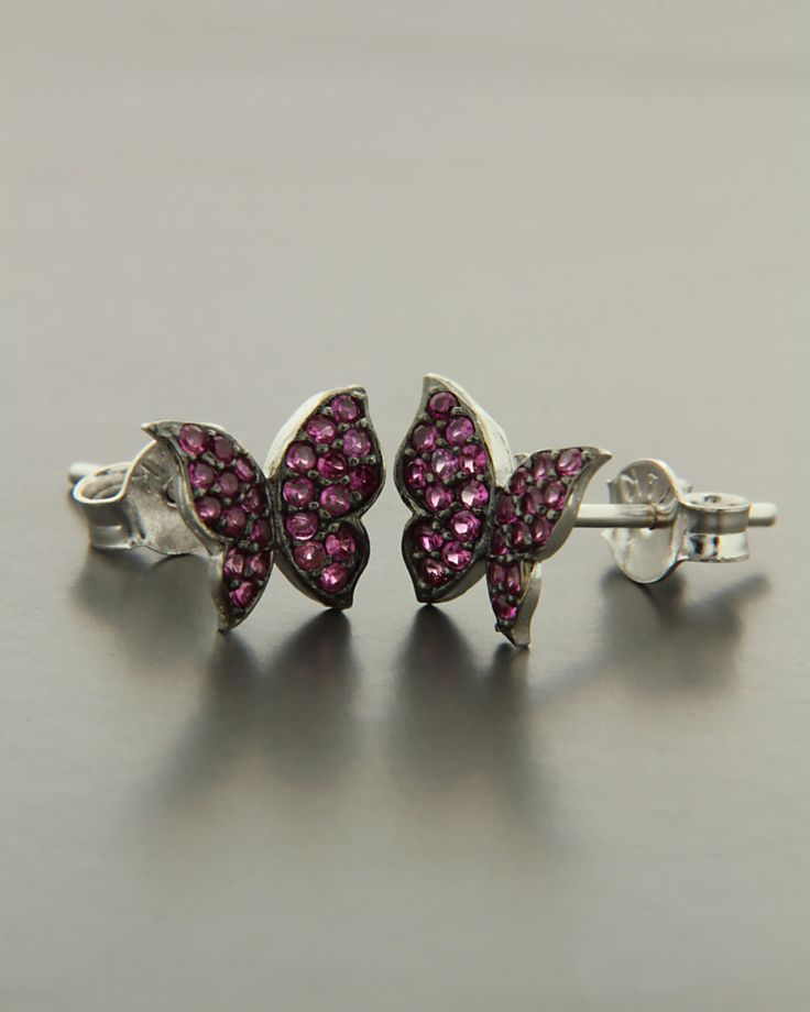 Σκουλαρίκια πεταλούδες λευκόχρυσα Κ14 με Ζιργκόν
