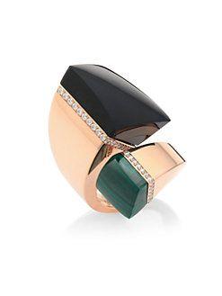 Roberto Coin - Prive Diamond, Black Jade & Malachite Bypass Ring