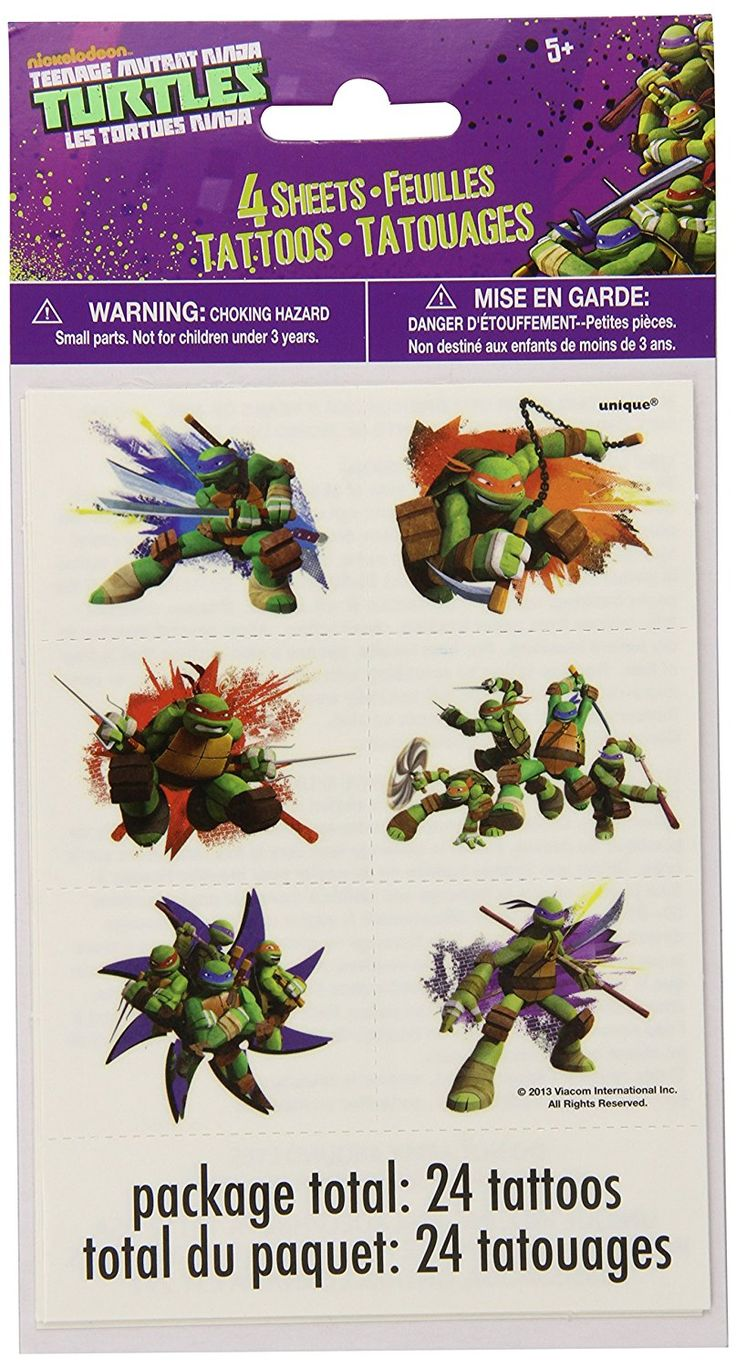 Teenage Mutant Ninja Turtles Tattoo Sheets, 4ct, Temporary Tattoos - Amazon Canada
