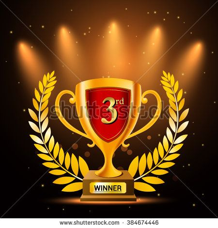 Gold trophy with background glowing element. Third winner trophy. vector illustration.