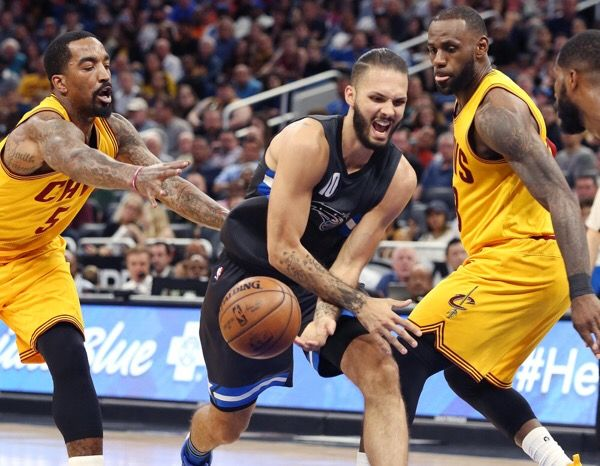 Evan Fournier sitting with sore wrist-Dr. Parekh = Orlando Magic's Evan Fournier with a sore right wrist. Likely just a contusion or…..