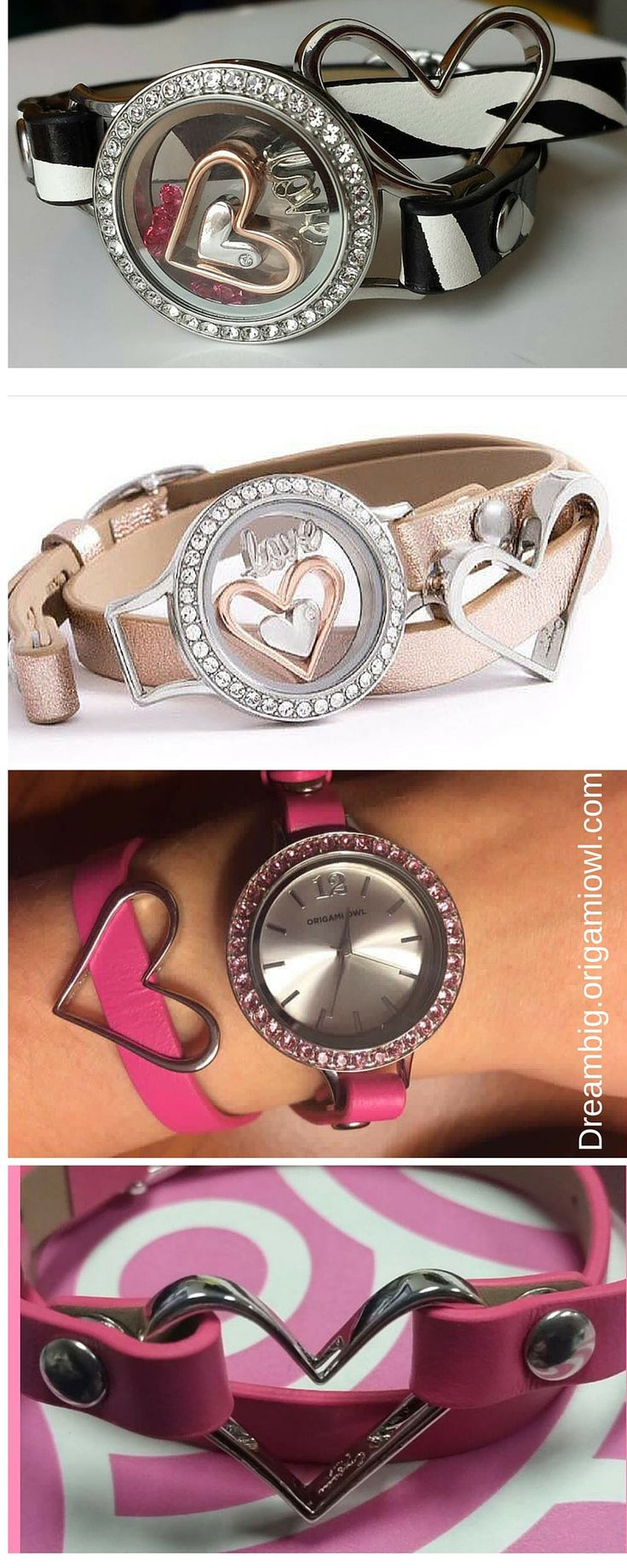 Origami Owl leather bracelet or watch ideas .. Mix and match. The watch has a large size locket face and the locket in a medium size.. Base + twist on & off faces..