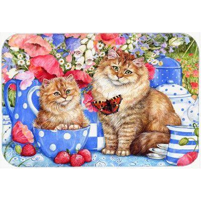 Caroline's Treasures Blue Cats Glass Cutting Board