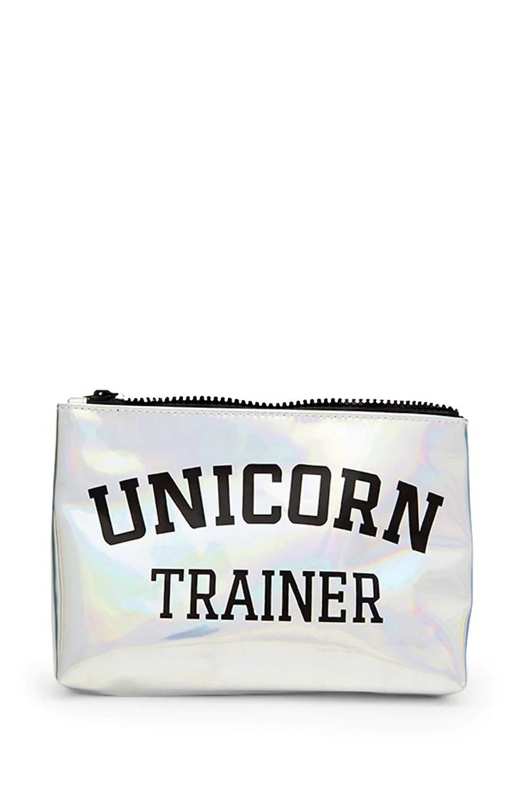 "A faux patent leather makeup bag featuring a ""Unicorn Trainer"" graphic on both sides, a holographic finish, and a zip-top."