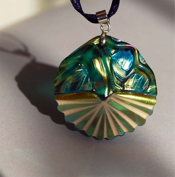 """sunshine"" pendant  recycle of pieces of antique ornaments  save as jewellry for the future"