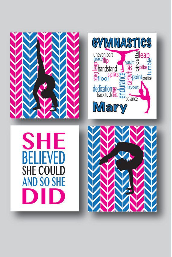 Set of 4 Personalized Gymnastics Prints by MDesignCompany on Etsy