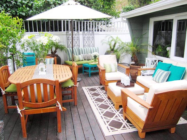 Wood Deck Furniture Ideas   Patio furniture layout, Patio ... on Garden Patio Designs And Layouts id=67272