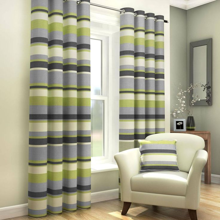 "Green, Natural & Grey Striped Lined Eyelet Curtains (90"" Wide x 54"" Drop)"
