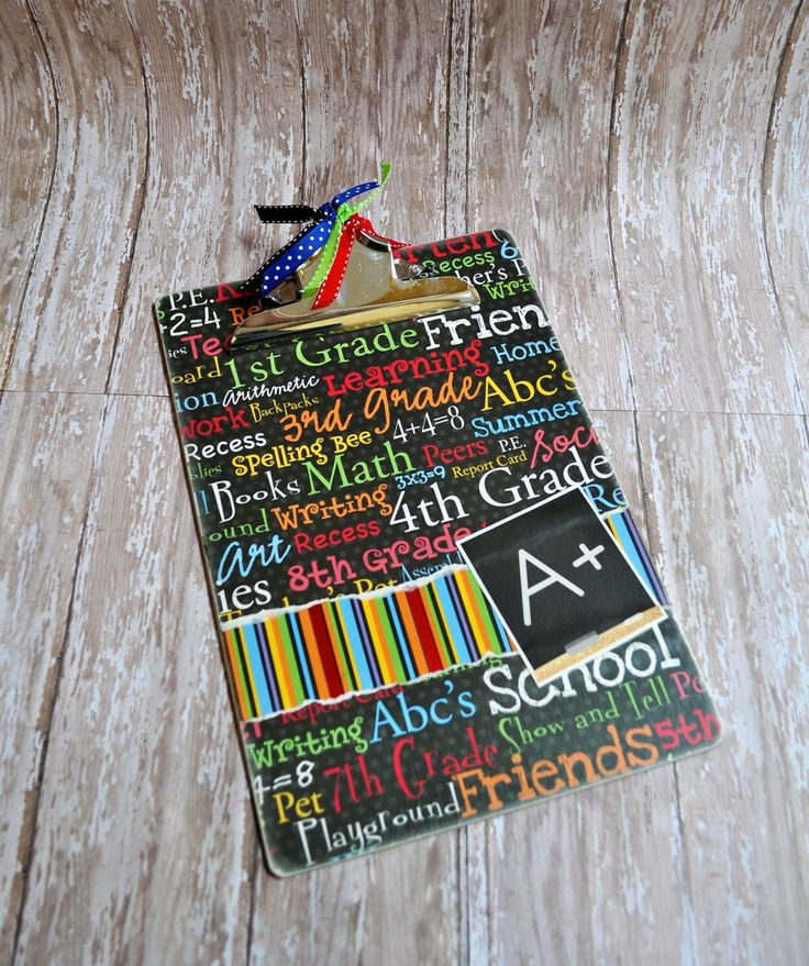 School Themed Altered Clipboard, Teacher Clipboard, Decorated Clipboard ,School Supply, Teacher Gift, Teacher Appreciation Gift by SassyScrappin on Etsy https://www.etsy.com/listing/469121209/school-themed-altered-clipboard-teacher