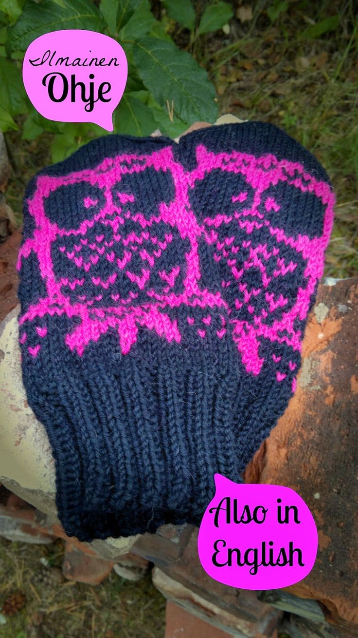 Cute knitted owl -mittens and instructions.