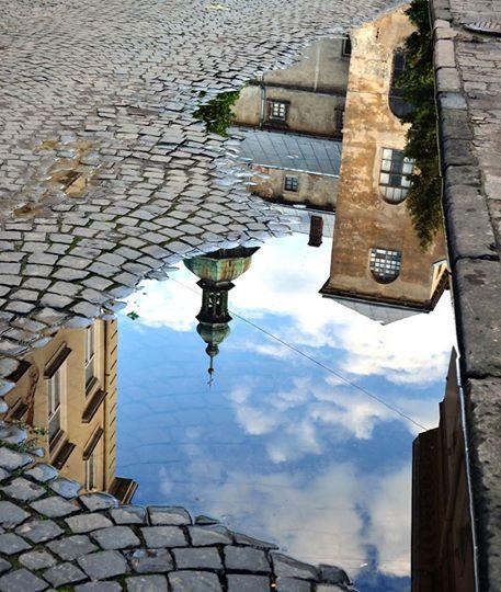 A reflection of Lviv, Ukraine.                              …