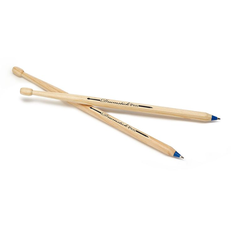 A pair of striking ballpoint pens that resembles a set of real drumsticks.