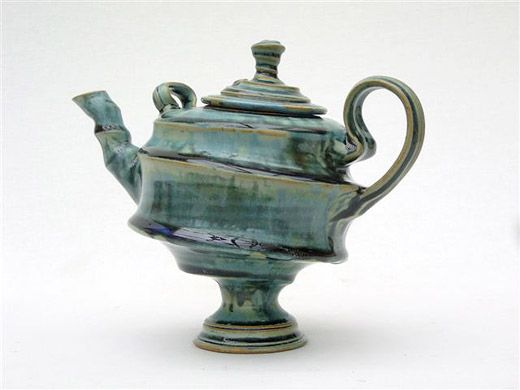 Ceramics by John Calver at Studiopottery.co.uk - 2010. Teapot thrown and assembled 20cms tall.