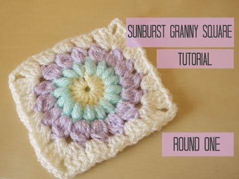 CROCHET: Sunburst granny square tutorial, ROUND FOUR | Bella Coco - YouTube