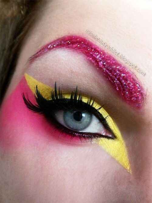 80s style *Jem and the Holograms eye make-up inspiration, neon pink and yellow with glitter eyebrows #brows #eyeshadow #eyeliner