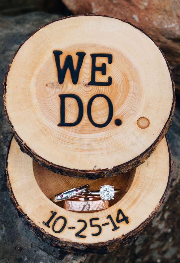 Wood burning, copper ring, ring box // Imagen Photography