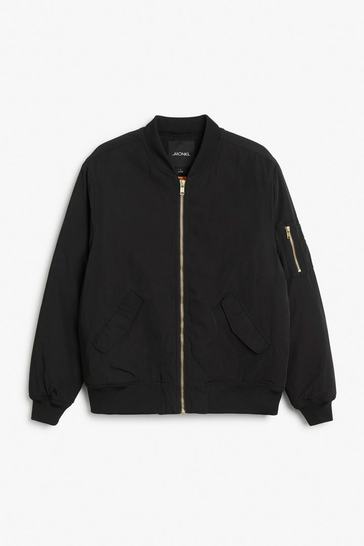 Monki Image 1 of Padded bomber jacket in Black