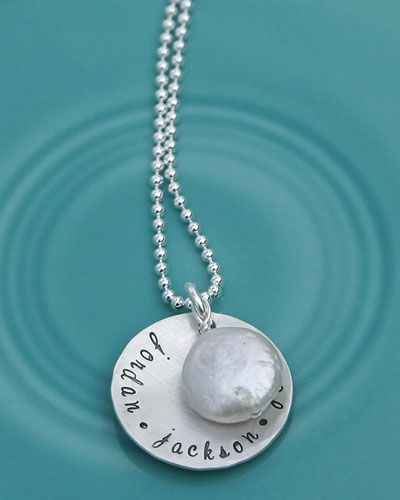 The Vintage Pearl - I would love a necklace with the boys names on it like this. Love the Vintage Pearl. Great Grandma gift idea too!