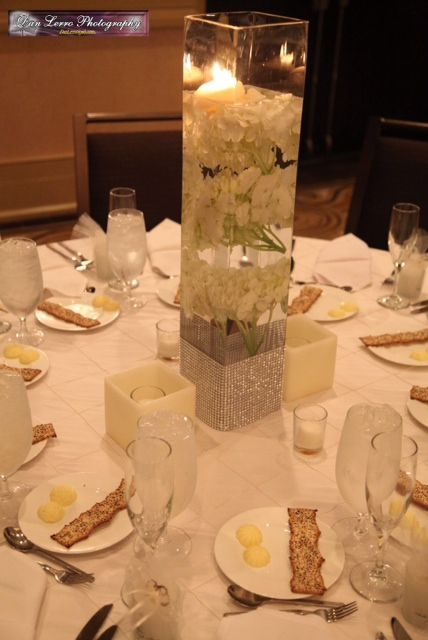 vase, water, flowers and tealights :  wedding centerpieces diy elegant inspiration ivory reception white Cntrpce