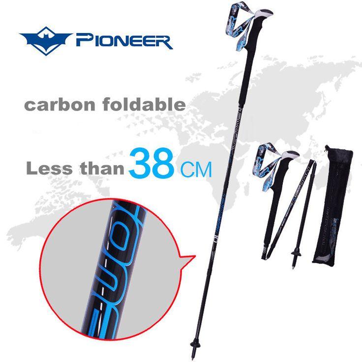Ski nieve postes de fibra de carbono bastones de Trekking para caminar muleta plegable bastón de senderismo trekking snowborad 2818