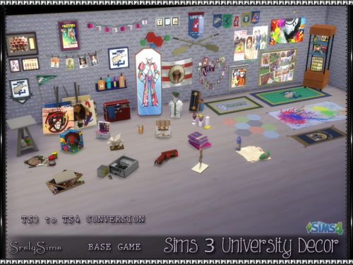 **Srsly's Sims 3 University Decor Conversions**(TS3 > TS4)  I've been getting tired of the same old decor for Sims 4, so I am starting a conversion project for each of The Sims 3 expansions and stuff packs. First up we have all the decor items from 'University Life' this includes all paintings and clutter. Please enjoy these 44 clutter items for your game! All items come in their original Sims 3 colors, prices and descriptions!CREATORS: You may recolor these meshes, and do as you wish. Bu...