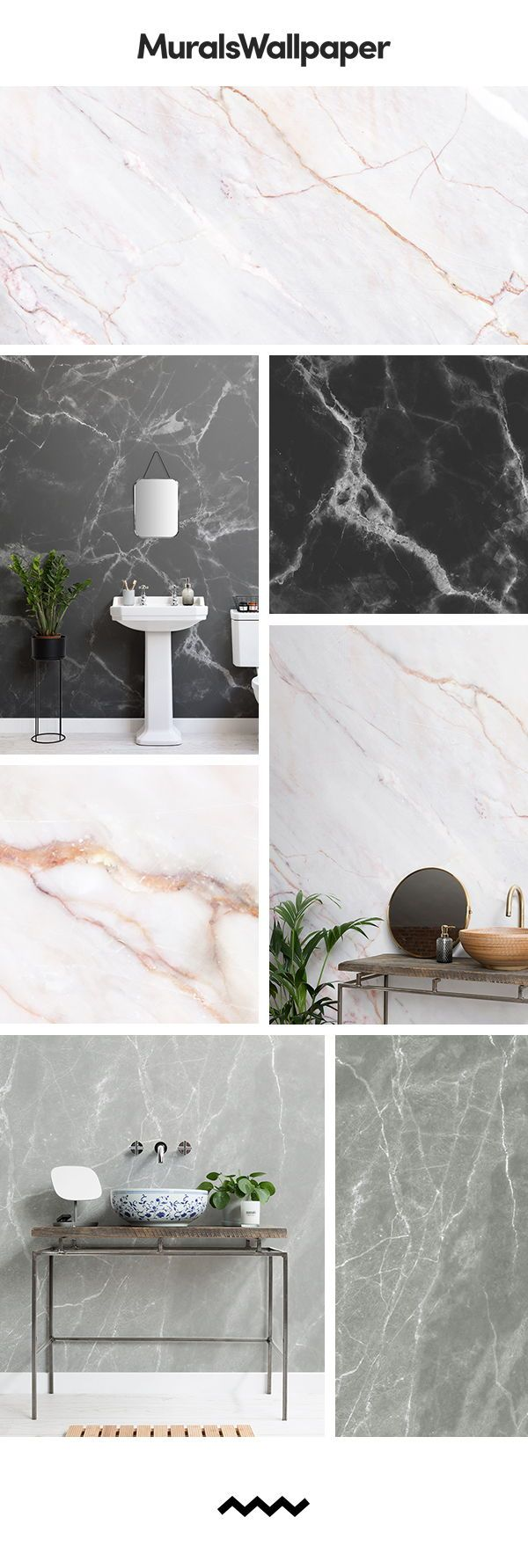 Create A Stunning Feature Bathroom Wall With Marble Effect Wallpaper These Small Bath Marble Effect Wallpaper Bathroom Wallpaper Feature Wall Marble Wallpaper
