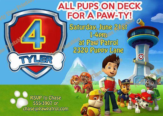 Paw Patrol Birthday Invitation Printable By PartyTimePrintables