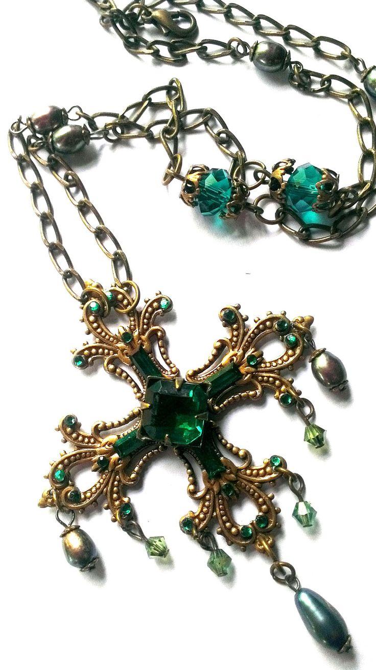 Emerald green cross necklace, Renaissance jewellery, Tudor pendant ...