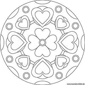 mandala vorlage mit herzen und einer blume | mandala malvorlagen, malvorlagen blumen, mandala