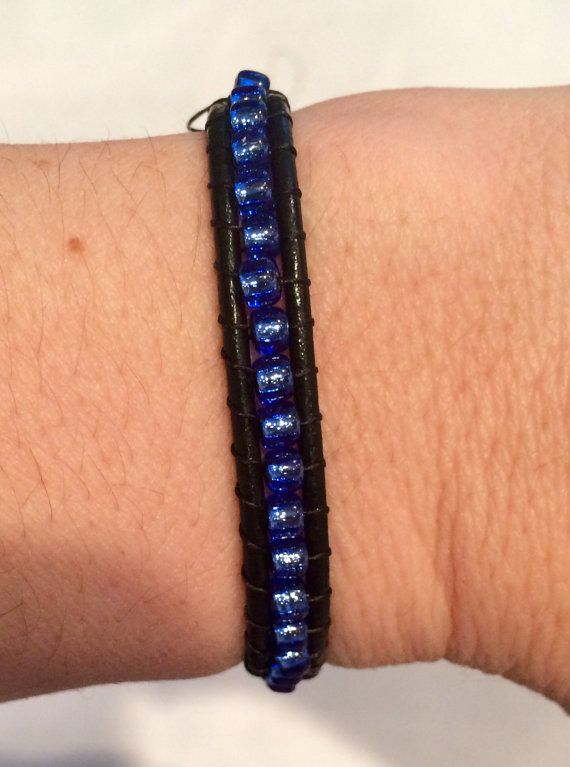 Thin Blue Line Bracelet by Mommaof4Design on Etsy