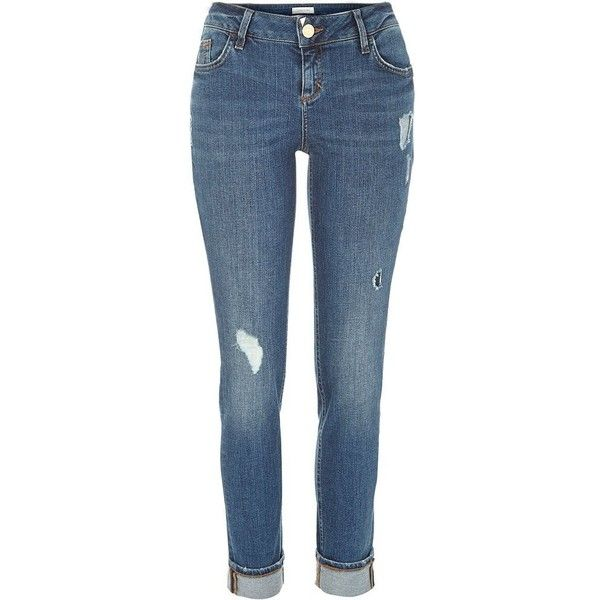 River Island Mid wash ripped Daisy slim jeans ($84) ❤ liked on Polyvore featuring jeans, skinny jeans, women, distressed jeans, slim fit jeans, tall jeans, distressed skinny jeans and low rise jeans