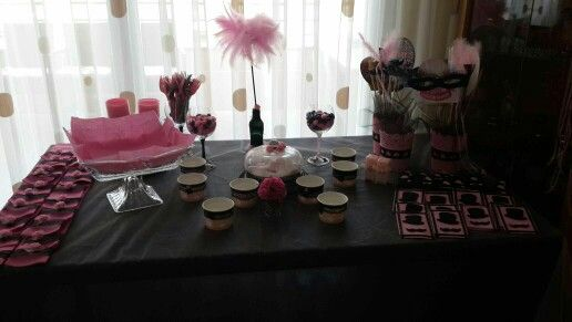 Pink and black party Pembe ve siyah party masası düzenlemesi