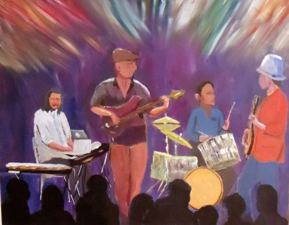 Musicians playing on stage An original by JulianLovegroveArt, £175.00