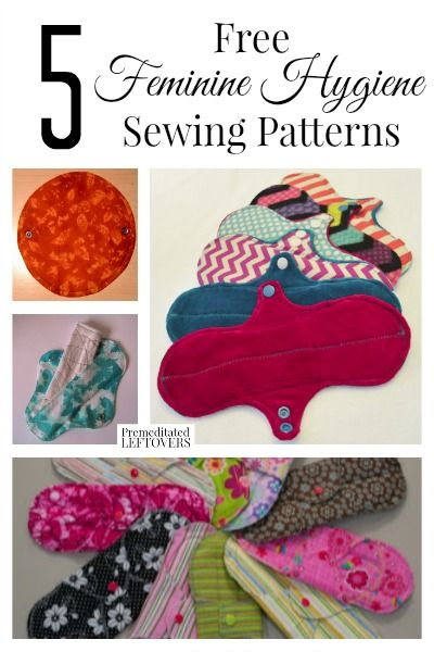 5 Free Feminine Hygiene Sewing Patterns- Cloth menstrual pads are frugal and eco-friendly. Learn more and try these 5 free feminine hygiene sewing patterns.