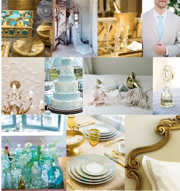 Aqua Gold Wedding Inspiration Board