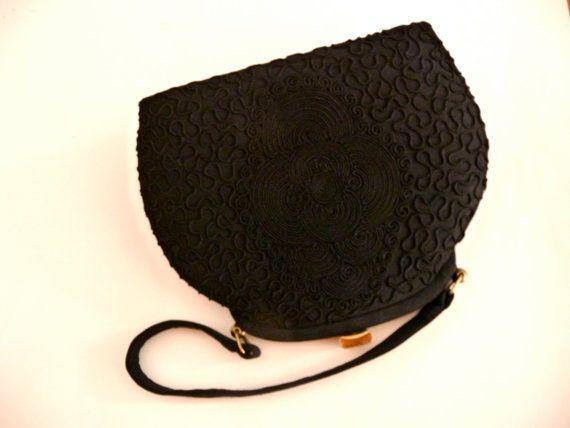 Black Soutache Embroidery Handbag