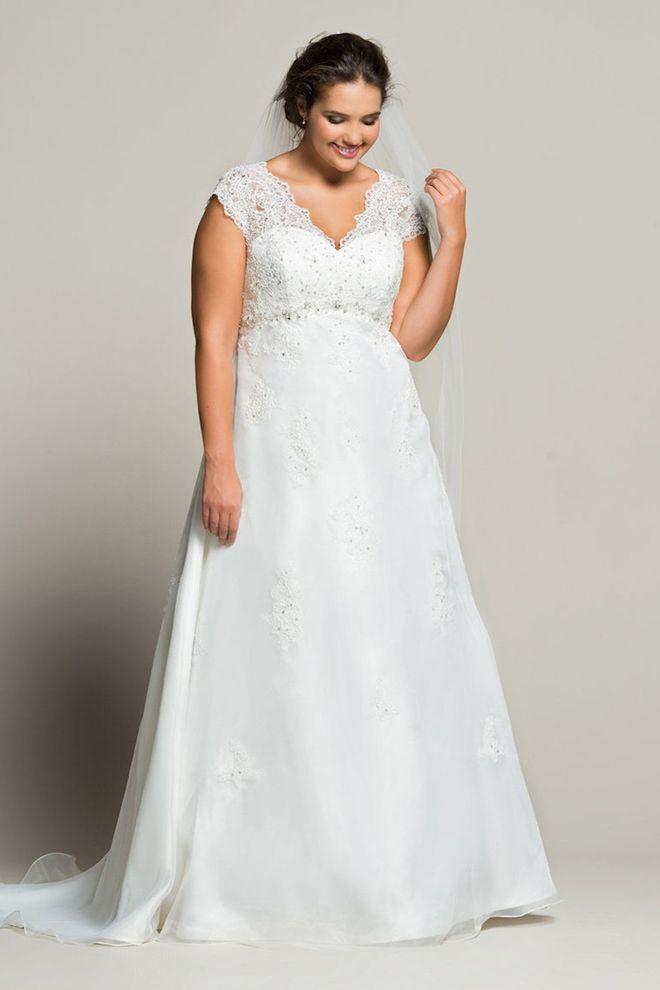 Robe de mariée grande taille dentelle et lacets blancs, Navabi