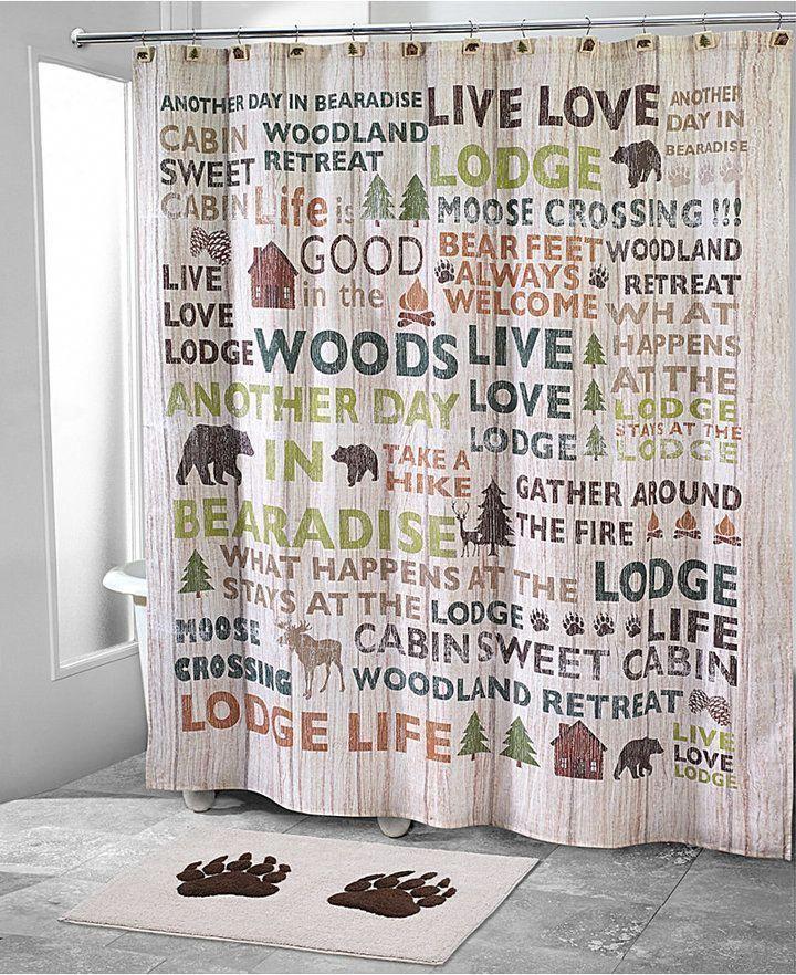 Avanti Cabin Words Shower Curtain Bedding Cabinideas Cabin