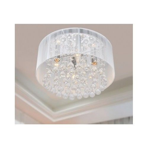 Round Flushmont Ceiling Chandelier Chrome Crystal Droplets 4 Light Fixture  New #Modern