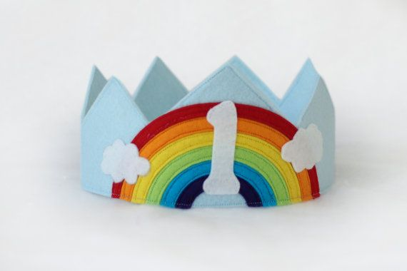 Rainbow 1st birthday crown (can be customized with any number or initial) by EnchantedPaisley