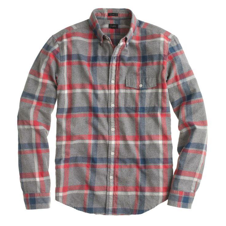 Slim brushed twill shirt in Danbury red plaid / by J.Crew