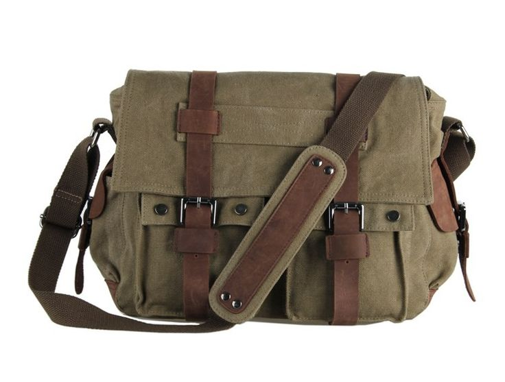 Vintage Canvas Green Messenger Bag via Vintage Leather Bags. Click on the image to see more!