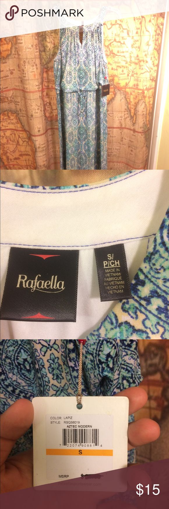 NWT RAFELLA S GIRLY AZTEC SLEEVELESS TEA LENGTH Lost the receipt!! Perfect for a wedding guest.  Please comment any questions or requests for more pics! Rafella Dresses Maxi