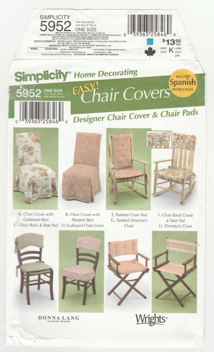 Chair Cover Patterns Simplicity 5952 Uncut Sewing Pattern Easy Chair Covers Pattern