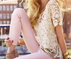 blush jeans and lace/crochet top... i think yes.