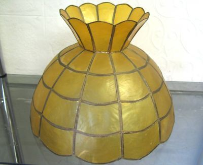 $60 Vintage SHELLS LAMP PENDANT SHADE Yellow Ceiling Light Cover Text 0411691171 or email info@bitspencer.com